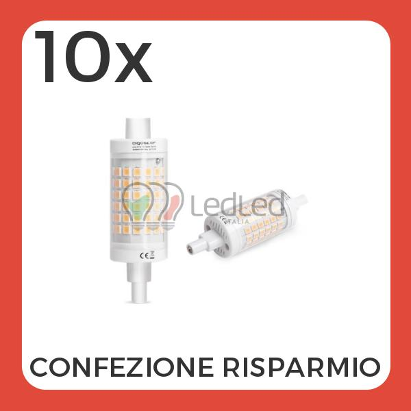 Confezione da 10 pz di lampadina led lineare r7s 7w 78mm for Lampadina r7s led 78mm