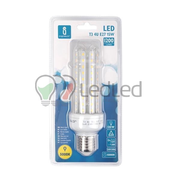 Lampadina led t3 e27 15w 4u bianco caldo 3000k for Offerte lampadine a led e 27